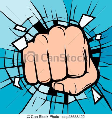 Vector Illustration of fist breaking through glass (human hand.