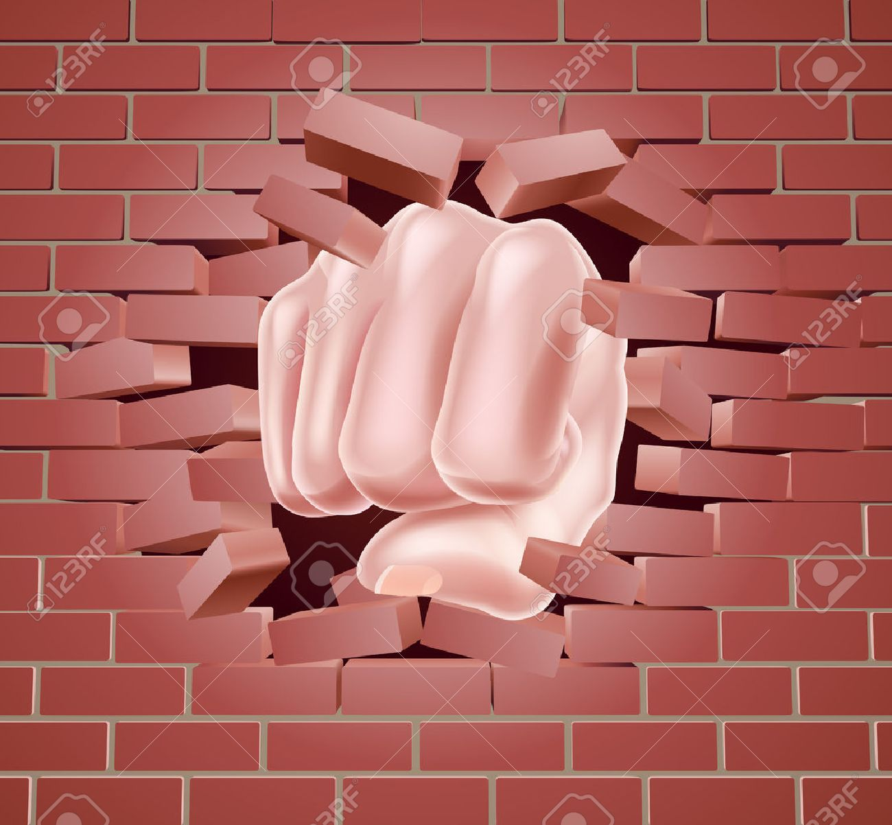 Breaking Through Brick Wall Clipart.