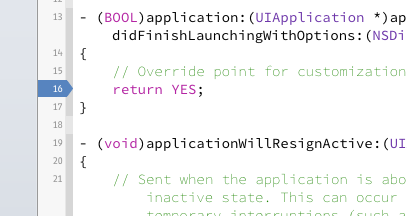 Using Breakpoints in Xcode.