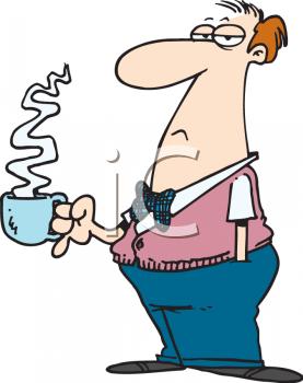 Cartoon of a Grouchy Man Taking a Coffee Break Clipart.