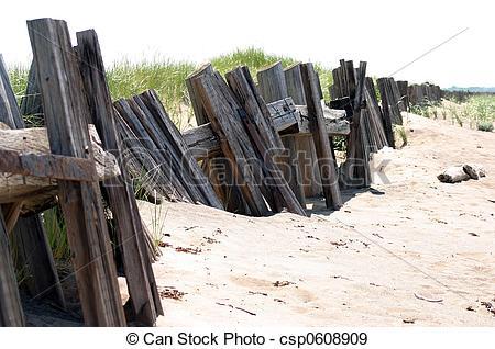 Stock Photographs of Wooden Breakwater.