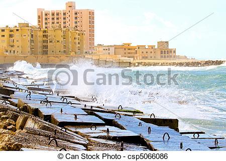 Stock Image of Alexandria breakwater.