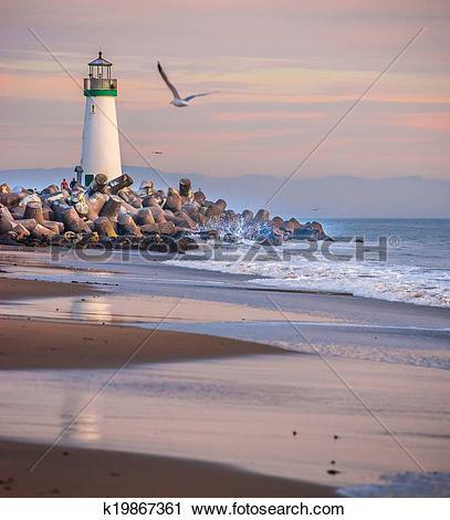 Stock Photography of Santa Cruz Harbor lighthouse k19867361.