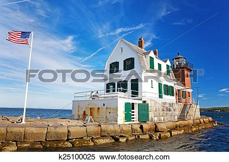 Stock Image of The Rockland Breakwater Lighthouse k25100025.