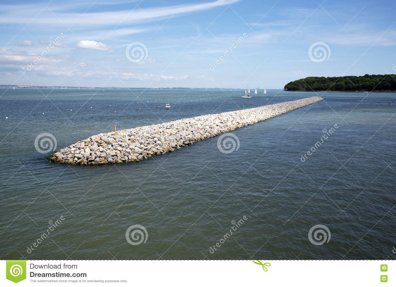 Breakwater At The Entrance To Cowes Harbour Isle Of Wight UK Stock.
