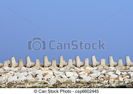 Stock Images of Breakwater. Harbor wall, protection.