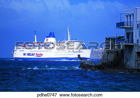 Picture of Mikonos, harbor city, cities, breakwater, bulwark, mole.