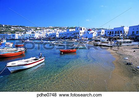 Pictures of Mikonos, harbor city, cities, breakwater, bulwark.