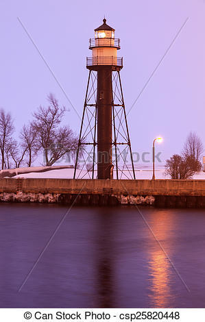 Stock Photo of Duluth Harbor South Breakwater Inner Lighthouse.