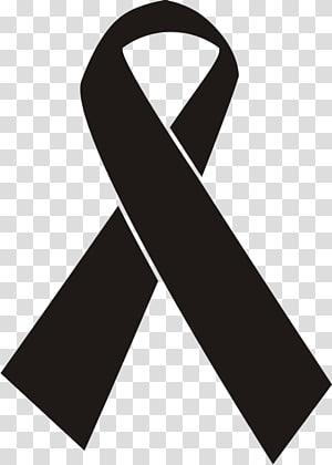 Black ribbon Awareness ribbon Mourning, ribbon transparent.