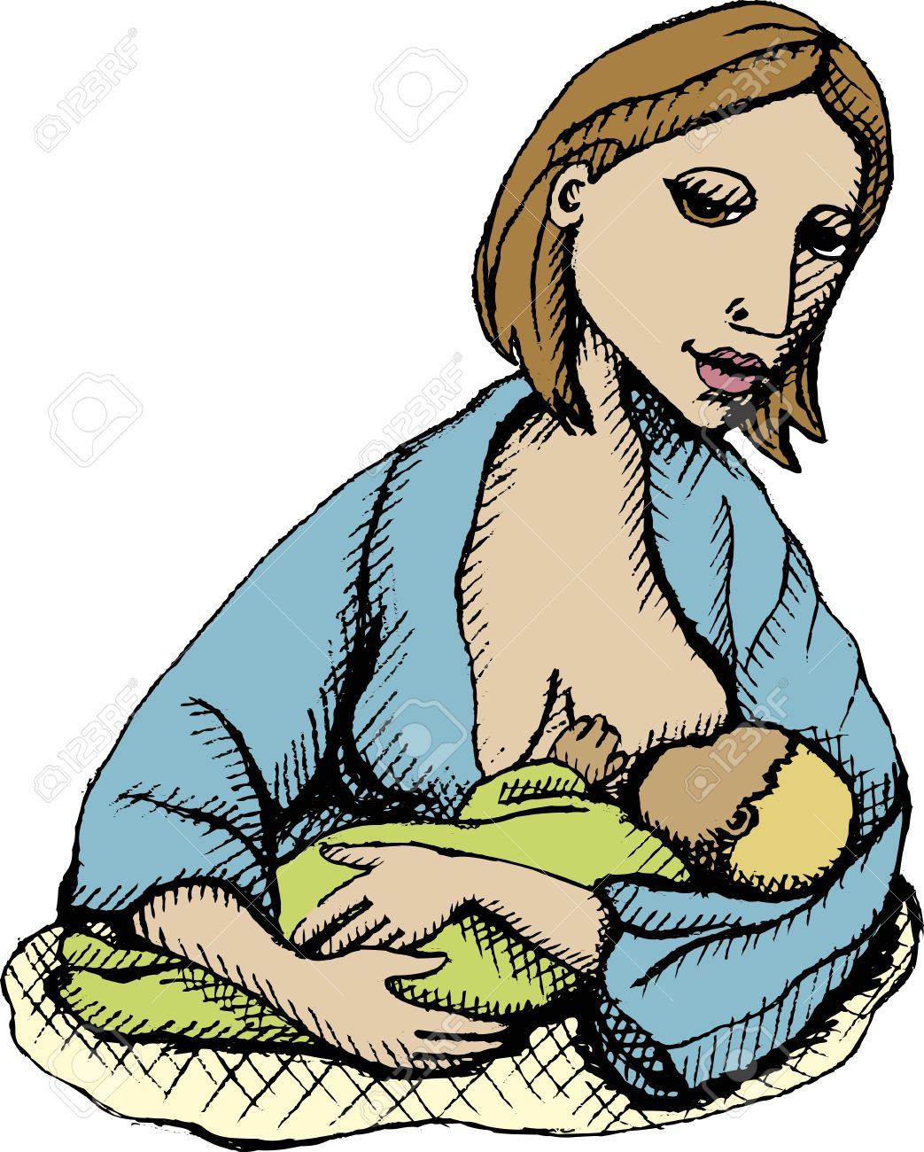 Nursing mother clipart.