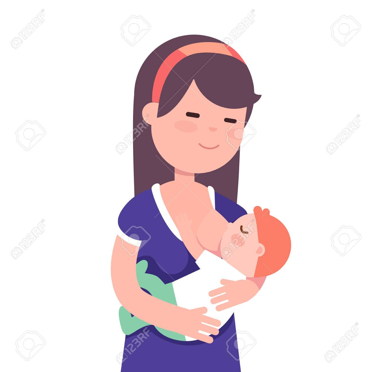 Beautiful mother breastfeeding her baby child holding him in...