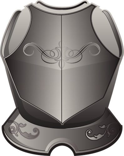 Vector graphics of armor breastplate in grayscale.