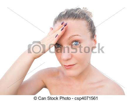 Stock Photography of Blonde woman breathing a sigh of relief.