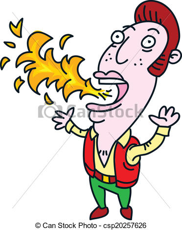 Vector Illustration of Performer Breathing Fire..