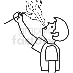 fire breathing man clipart icon . Royalty.