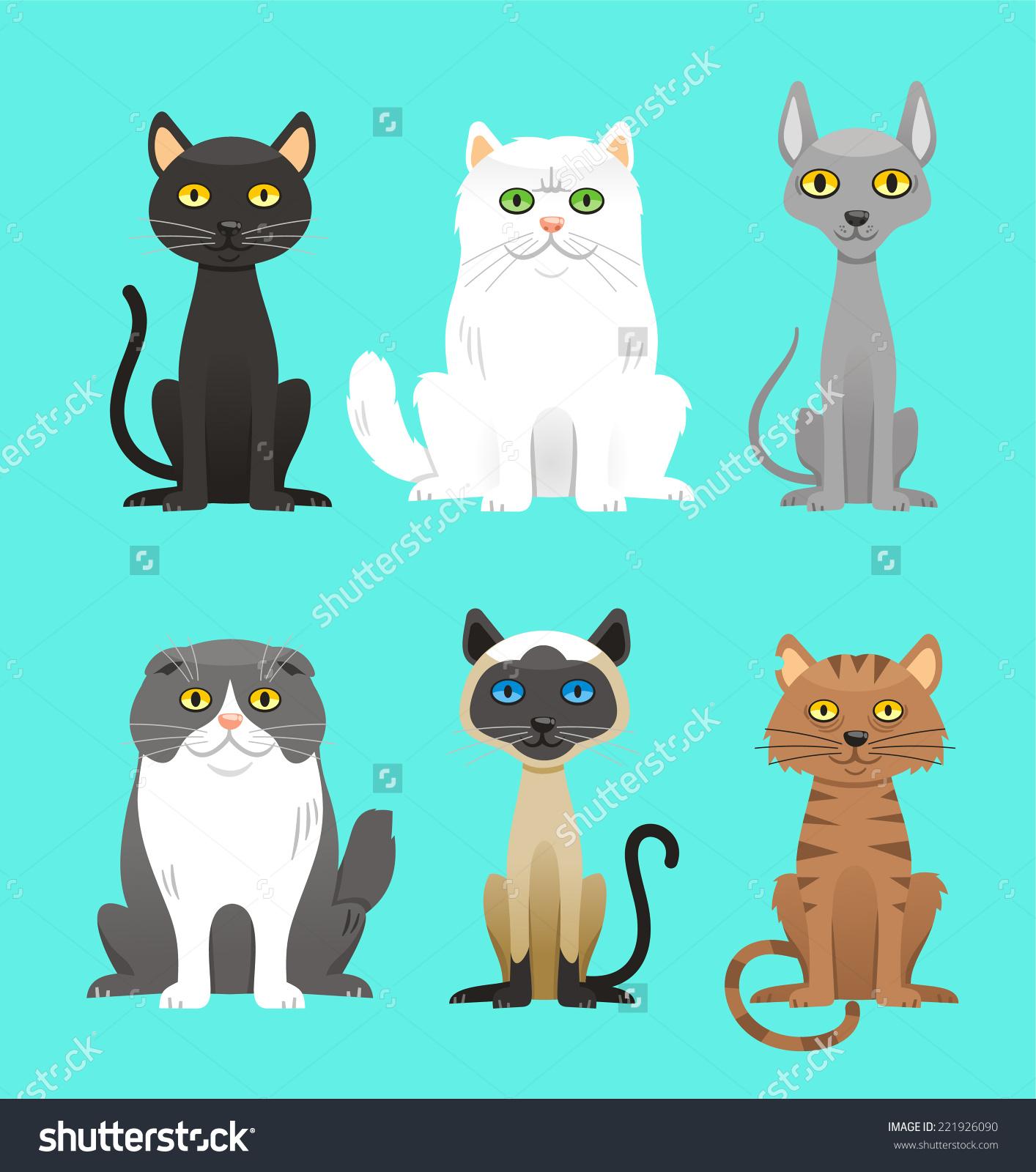 Cat Breed Set Black Cat White Stock Vector 221926090.