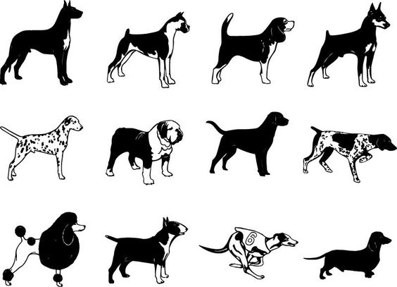 Dog Breed Silhouette Vector Clip Arts Free Download.