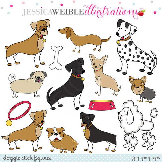 Doggie Stick Figures Cute Digital Clipart, Commercial Use OK.