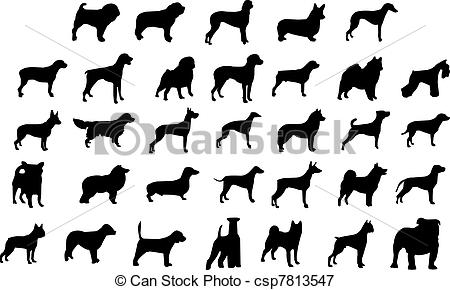 Vectors Illustration of dog breeds silhouettes.