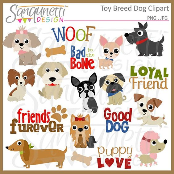 Toy Dog Breed Clipart, Puppy Clipart, Pet Clipart, Poodle Clipart.