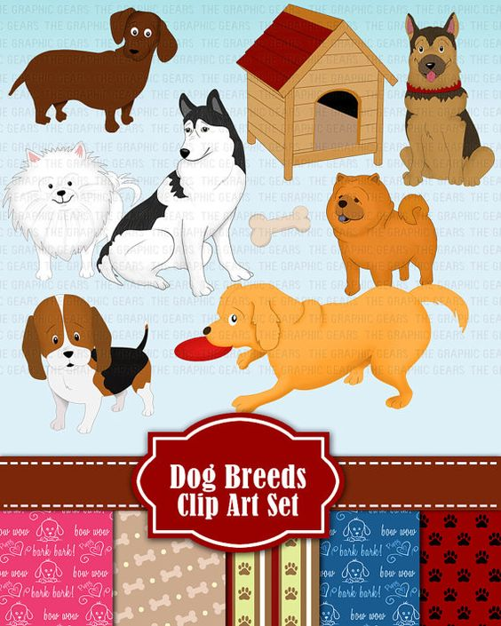 Dog Clip Art Dog Breeds Clipart Set Dog Breed golden retriever.