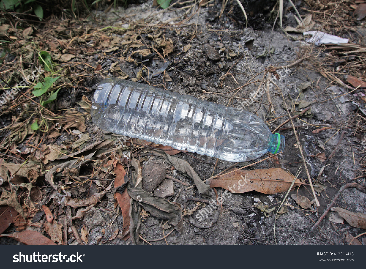 Plastic Water Bottle Left Stores Stagnant Stock Photo 413316418.
