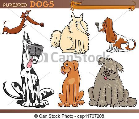 Vector Clipart of Dog breeds cartoon set.