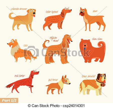 Vector Clipart of Dog breeds. Bull Terrier, Chow Chow, Collie.