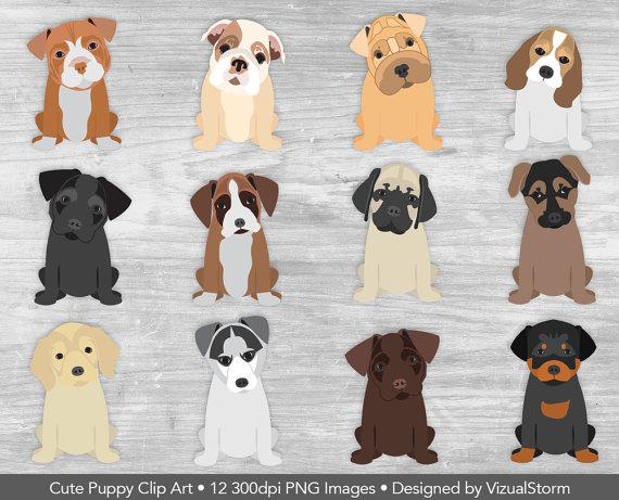 Puppy Clip Art Cute Puppy Clipart Pet Scrapbooking by VizualStorm.