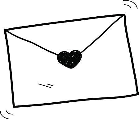 Love Letter Doodle Clipart Image.