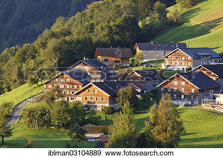 "Stock Photograph of ""Bregenzerwald houses, Unterkaltberg."