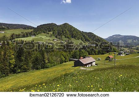 """Stock Photography of """"Hittisau village with Gfaell, Bregenzerwald."""