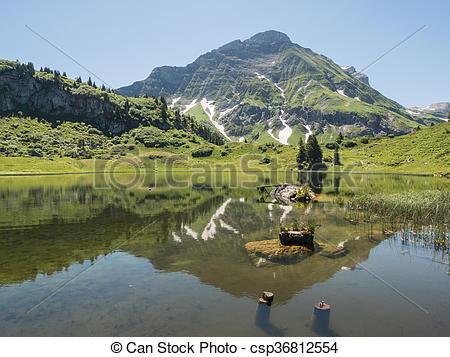 Stock Bilder von Berge, schroecken, See, Dorf, koerbersee.