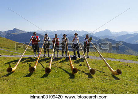 "Stock Photography of ""Alphorn players, Diedamskopf, Schoppernau."