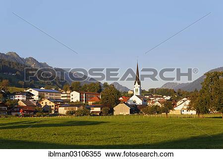 "Stock Image of ""Townscape, Lingenau, Bregenzerwald, Bregenzer Wald."