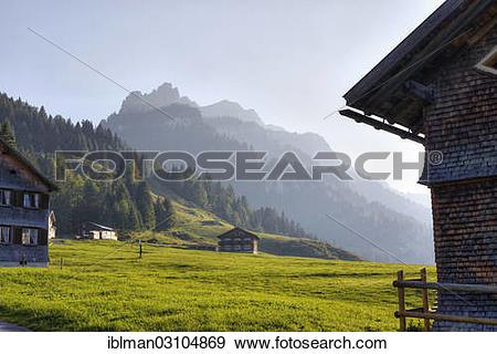 "Stock Photograph of ""Alp village, Vorsass Schonenbach, Bezau."