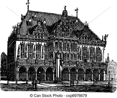 Vector Clipart of Old Breisach, Germany, vintage engraving from.