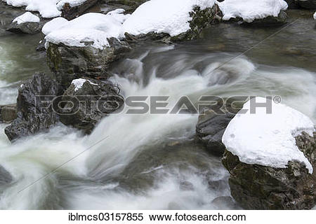 "Stock Image of ""Breitachklamm gorge with ice and snow."