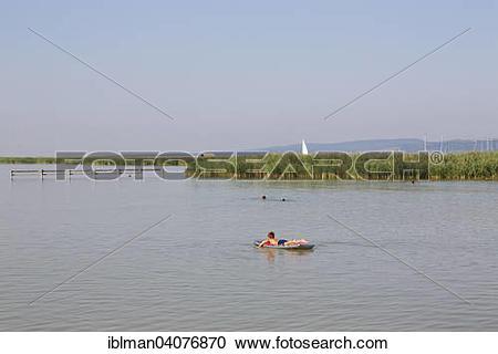 "Stock Photography of ""Bathing bay on Lake Neusiedl in Breitenbrunn."