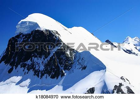 Stock Photography of Breithorn peak in Swiss Alps seen from klein.