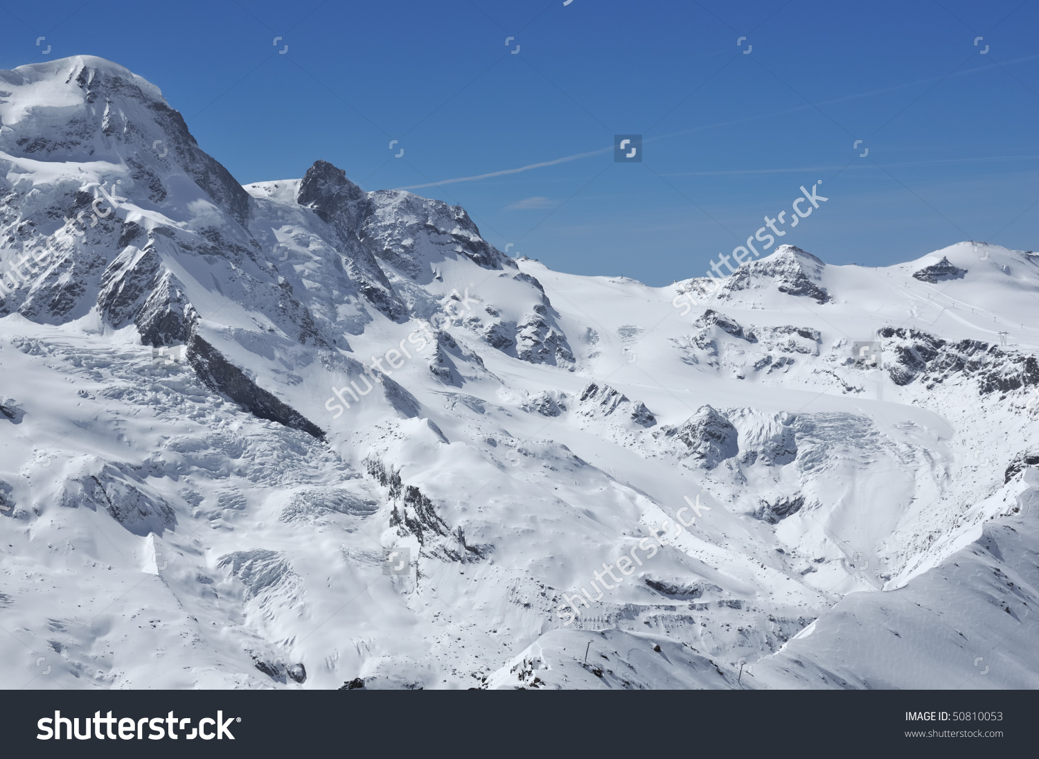 The Breithorn And The Kleiner Matterhorn In The Winter Above.