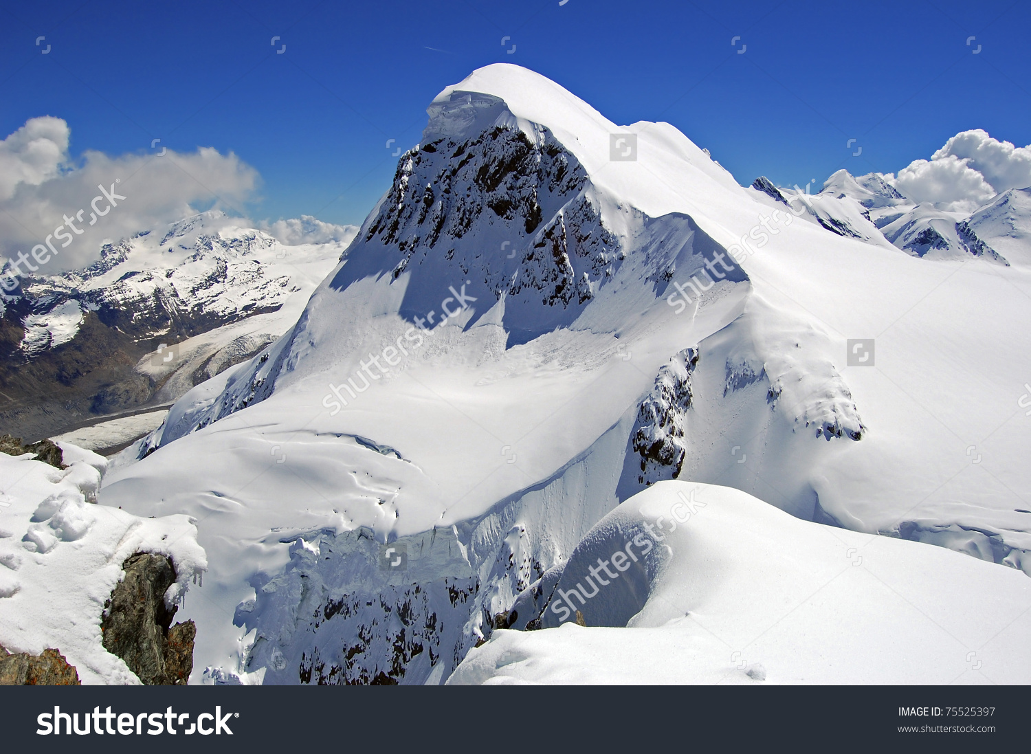 Breithorn Peak Swiss Alps Seen Klein Stock Photo 75525397.