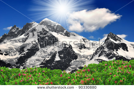 Beautiful Mountain Breithorn Klein Matterhorn Swiss Stock Photo.