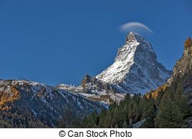 Stock Images of Autumn view of Mount Matterhorn, Canton of Valais.