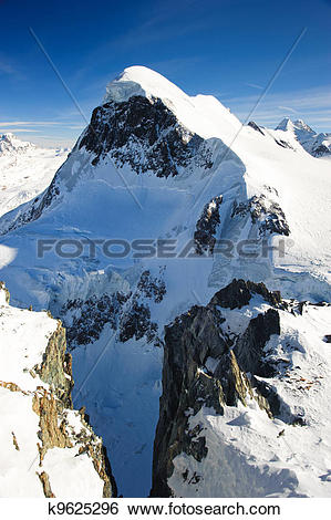 Stock Images of Breithorn mountain peak. View from kl. Matterhorn.