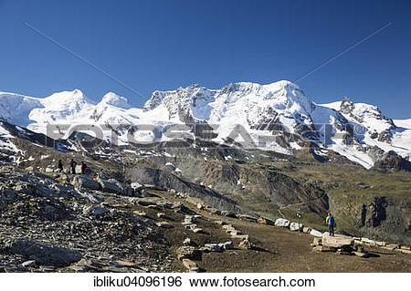 Stock Images of View of the mountains Castor, Pollux, Breithorn.