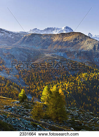 Stock Photo of Breithorn and matterhorn glacier paradise;Valais.