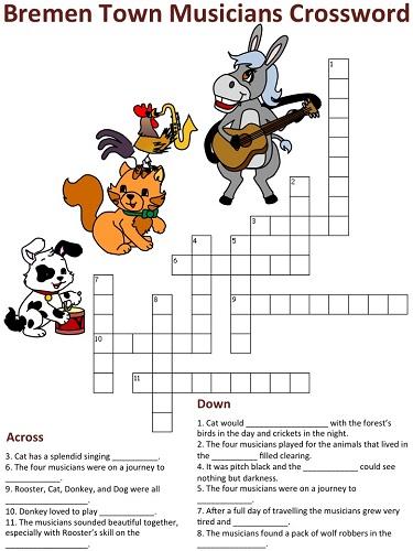 Bremen Town Musicians Crossword Puzzles.