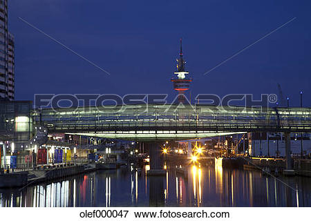 Picture of Germany, Bremen, Bremerhaven, Od Harbour, Bridge over.